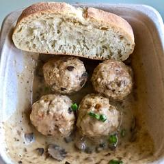 chicken meatballs in mushroom demi-glaze The Meatball Bar