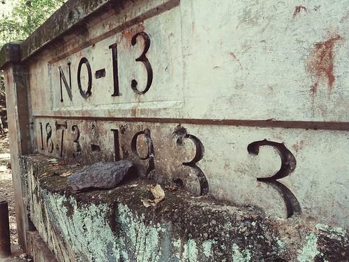 Old iron mine marker. Red Mountain Park, Alabama.