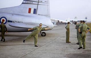 1967 NZ5903 at Bangkok Airport - Hugh Francis wearing his anti-Cryptonite glasses