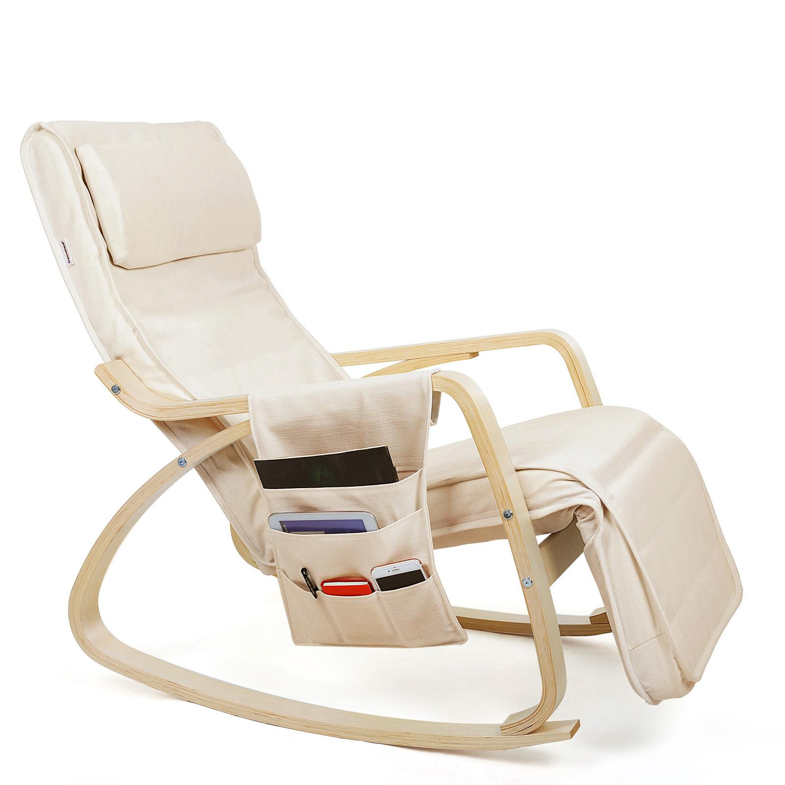 Songmics fauteuil bascule rocking chair avec repose for Chaise confortable pour le dos