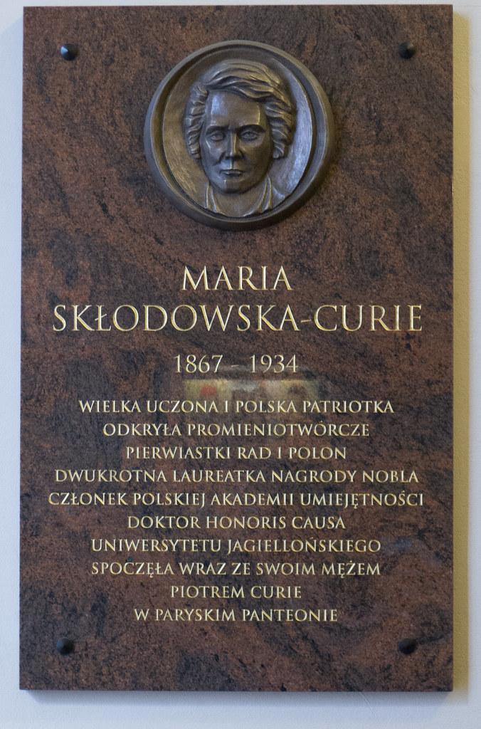 Monument à Marie Curie (1867-1934) bibliothèque de l'Académie des Sciences de Pologne – Cracovie (Voïvodie de Petite-Pologne)