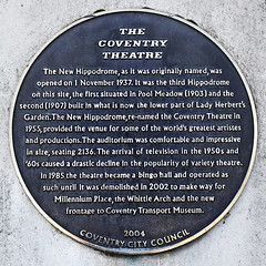 Photo of Coventry Theatre  black plaque
