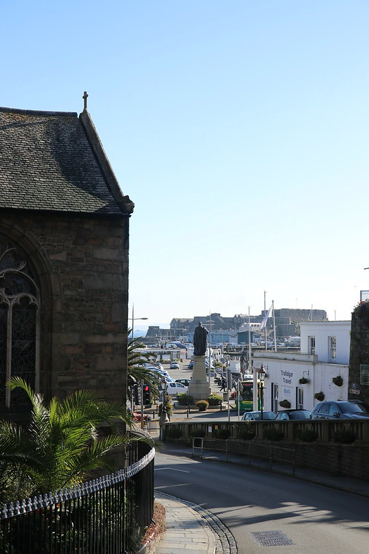 Looking towards Castle Cornet from the centre of St Peter Port Guernsey