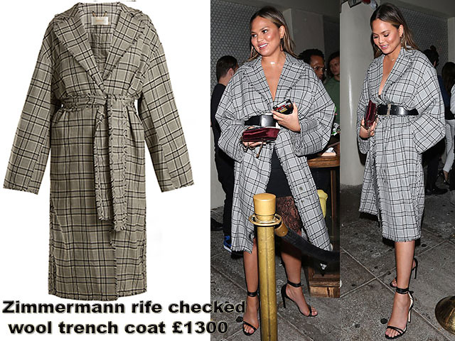 Zimmermann-rife-checked-wool-trench-coat, fashion trends @ Alwand, Plaid coat, black slip dress, checked coat, Zimmermann rife checked wool trench coat, menswear-inspired trench coat, black negligee dress, black slip dress, red clutch. Heeled sandals