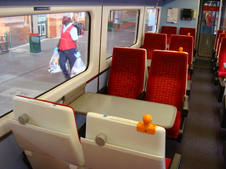 Interior of mark 3 coach at Nottingham station, showing imperfect alignment of table bay with window