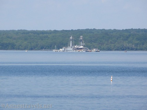 The Navy Testing Barge on Canandaigua Lake from a little park in Dresden, New York
