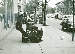 Police grapple with Mayday Protester: 1971
