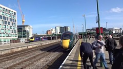 GWR 800 IET departs Cardiff Central first day of service 2017/16/10