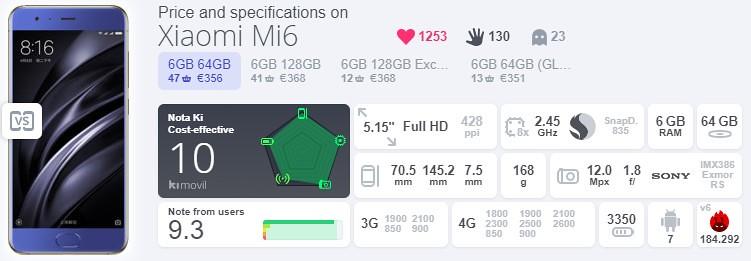 6,Xiaomi Mi6 (6GB,64GB)