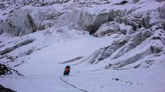 Monika zaklada asukuracje ze śruby na 70m lodowej ściance,