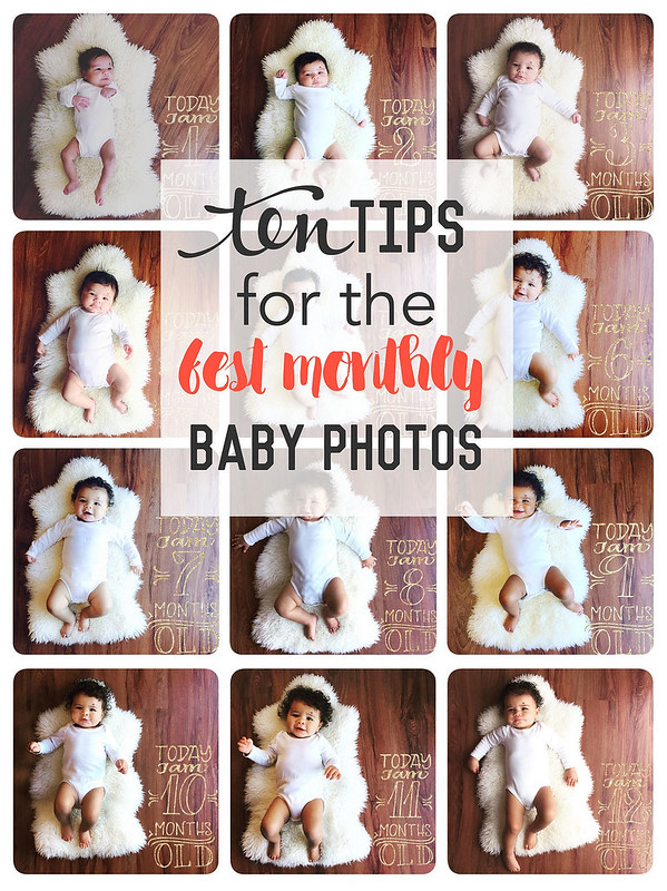 12 months of photos in carters bodysuits