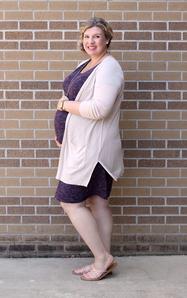 maternity purple dress, long blush cardigan 4