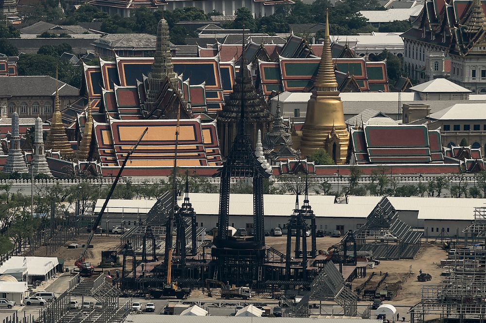 Funeral pyre for King Bhumibol Adulyadej, under construction in Bangkok