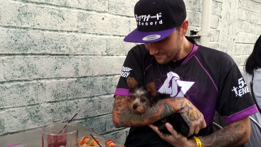 FakeNerdBoy and Mango the Yorkshire Terrier