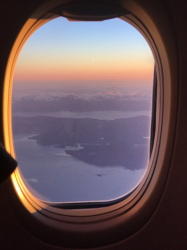 Sunset over Alaska from airplane