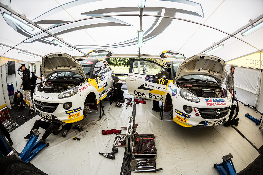 18 Ingram Chris and Whittock Ross, Opel Rallye Junior Team, Opel Adam R2 ERC Junior U27 with 20 Huttunen Jari and Linnaketo Antti, ADAC Opel Rallye Junior Team, Opel Adam R2 ERC Junior U27 service parc ambiance during the 2017 European Rally Championship ERC Liepaja rally,  from october 6 to 8, at Liepaja, Lettonie - Photo Thomas Fenetre / DPPI