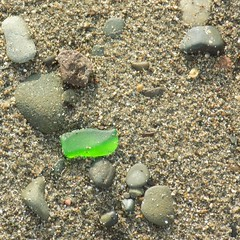 lime green #seaglass #limegreen #beachcombing #scottishbeachfinds #seaside #scoltand #treasure #insitu #asfound #beach