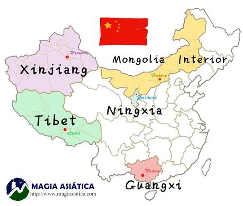 5 regiones autonomas China mapa con nombres_