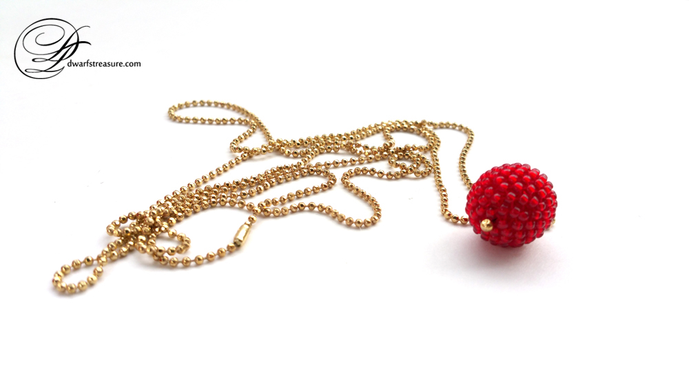 dream long ball chain necklace with red beaded bead pendant