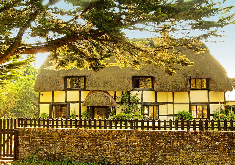A pretty thatched cottage at Rockford, New Forest. Credit Anguskirk