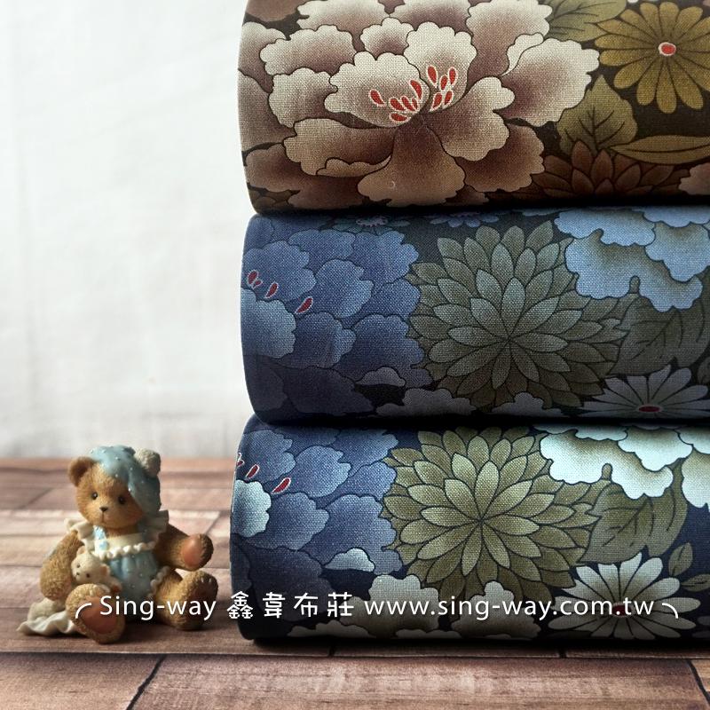 百花綻放 (大特價) 復古日式花卉 手工藝DIy拼布布料 CF550609