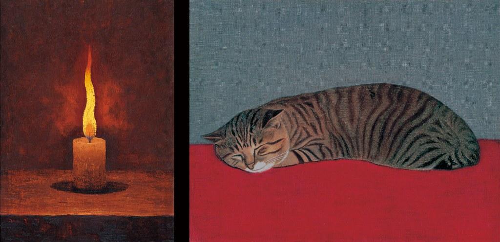 髙島野十郎《蠟燭》(大正期、福岡県立美術館) 長谷川潾二郎《猫》(1966年、宮城県美術館)