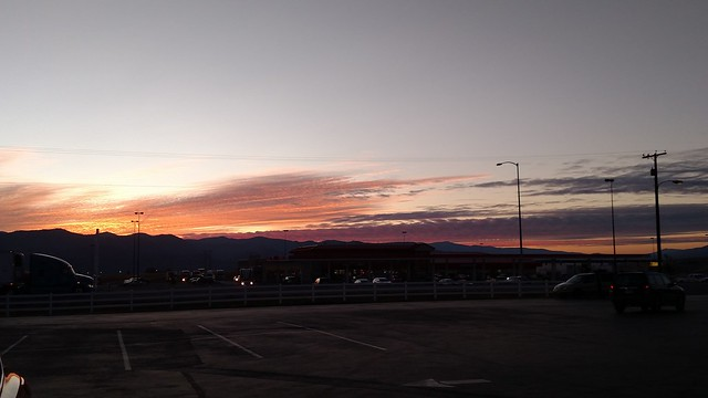 Sunset over the truck stop
