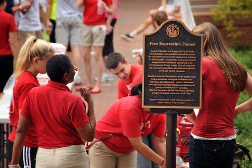 Campus leaders prepare for Respect The Pack at the Free Expression Tunnel.
