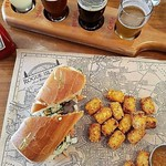 Comfort food at its finest for this rainy day. Bahn Mi Sando, Tator Tots and a Flight of Craft Beer of your choice. Happy Friyay! - - Thanks @michellepgv for this awesome pic! - - #foodie #yum #rhody #farmtotable #rifoodfights #ediblerhody #foodlove #food