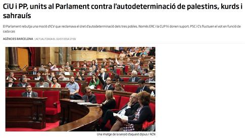 17i25 CiU i PP, units al Parlament contra l'autodeterminació de palestins, kurds i sahrauís