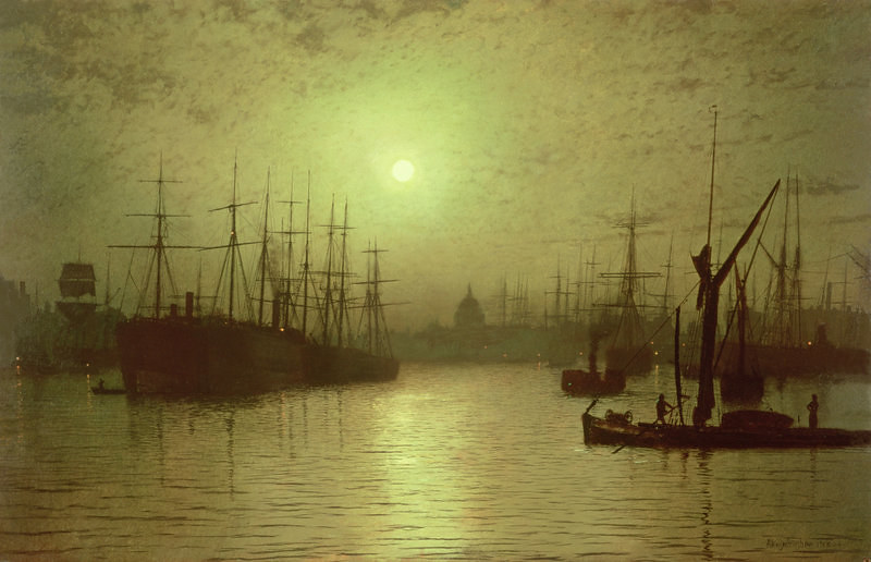 Nightfall down the Thames by John Atkinson Grimshaw, 1880