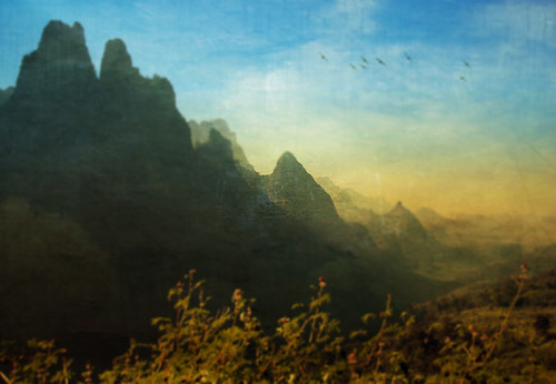 Laos mountains in the photo app Distress FX