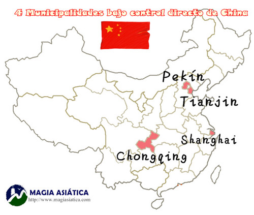4 Ciudades bajo control directo gobierno China Mapa