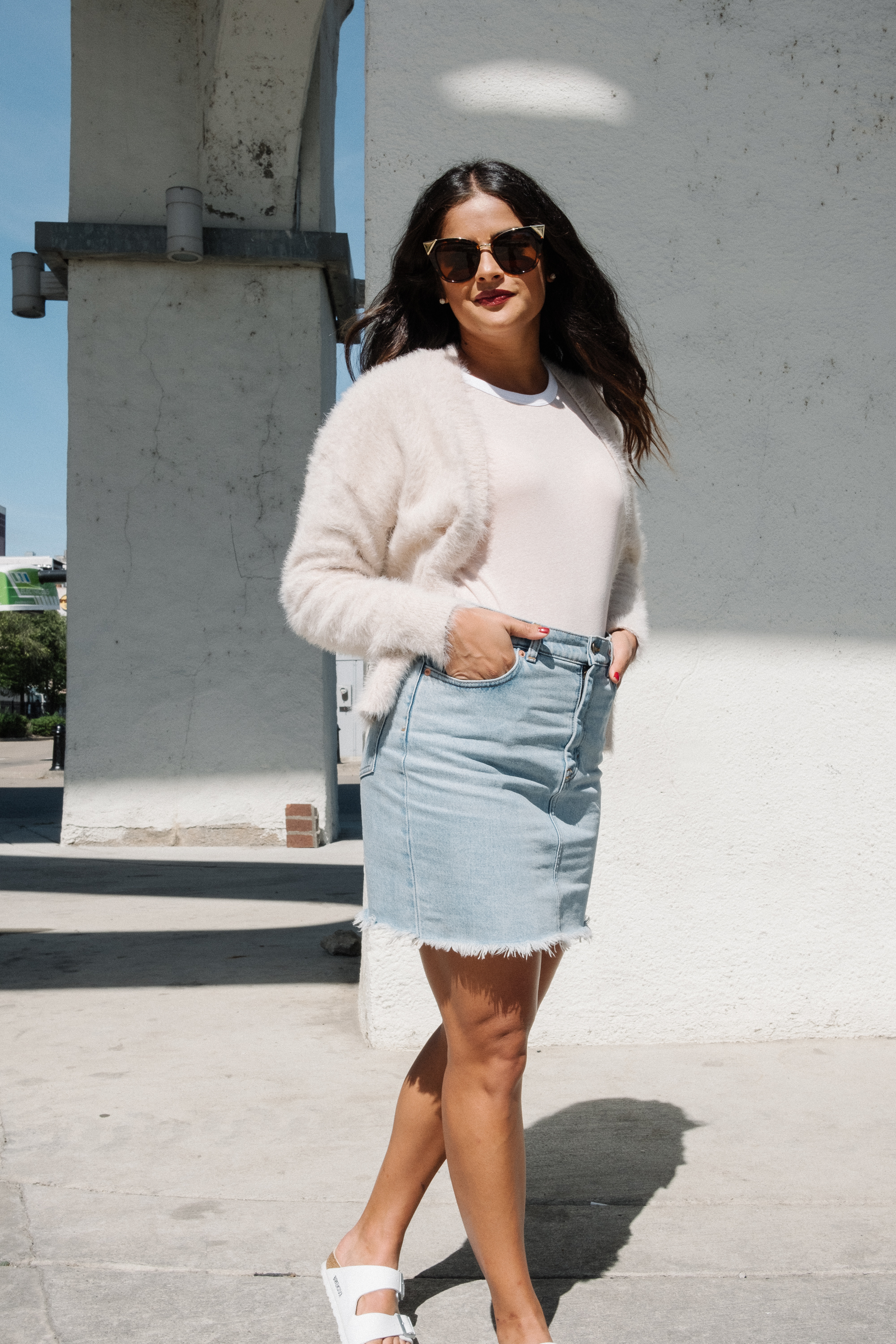 Priya the Blog, Nashville Style Blog, Fall transitional outfit, fuzzy cardigan, white Birkenstocks, pink ringer tee, The Ringer
