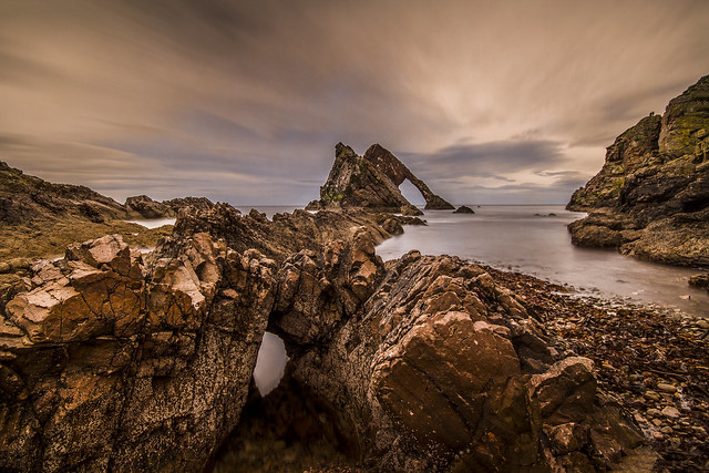 fine art evening colours at the Bow Fiddle Rock, Portknockie, Moray, Scotland