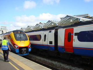 East Midlands Trains' 222010 and another class 222 at Loughborough station