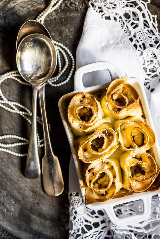 Girelle di lasagne con ricotta e funghi