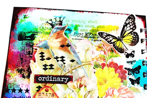 Meihsia Liu Simply Paper Crafts Mixed Media Art Journal Flower Bird Collage Simon Says Stamp Tim Holtz 2
