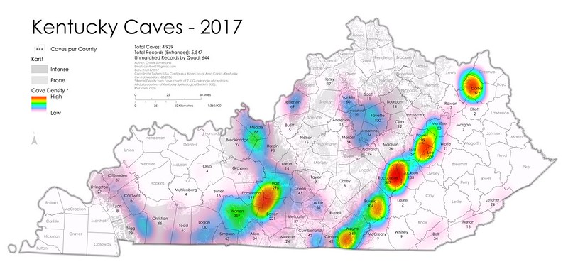 Kentucky Cave Distribution including Karst Geology, 2017