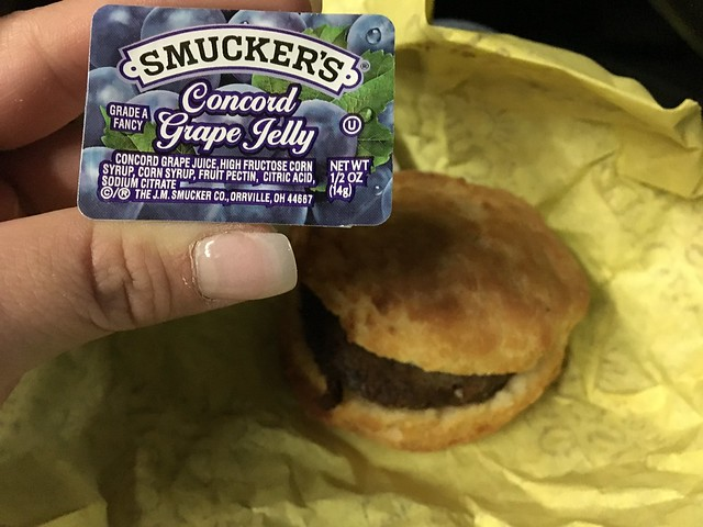 Tudors sausage biscuit & grape jelly