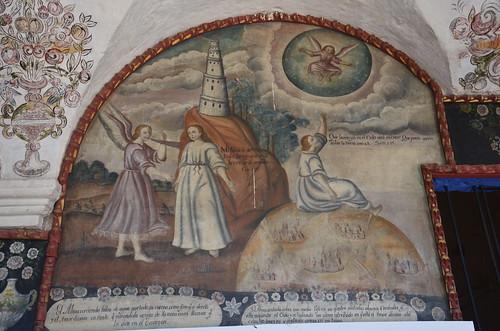 Links der Turm von Babel, rechts Nonne auf Hügel