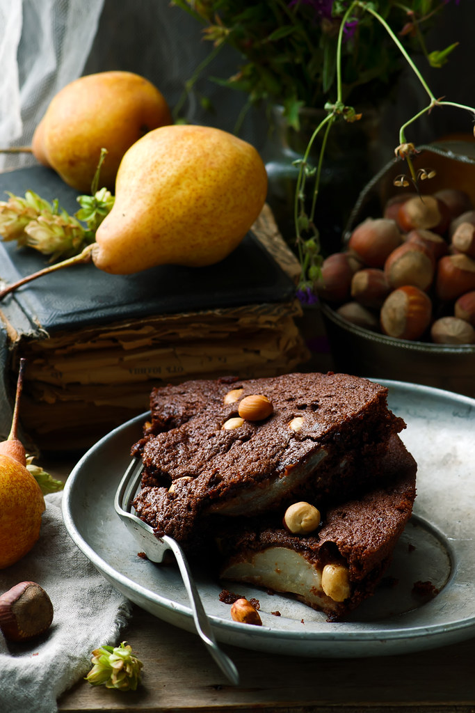 squidgy pear hazelnut chocolate spread cake
