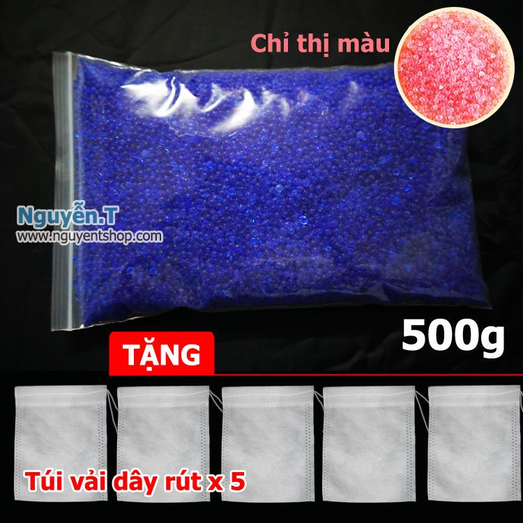 500g hạt hút ẩm Xanh Silicagel Blue - chuyển màu khi no ẩm