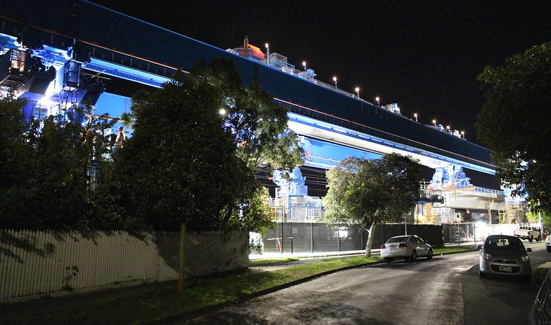 Skyrail under construction near Murrumbeena station