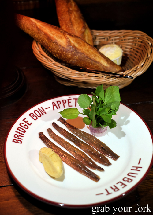 Angelachu anchovies with eschalot, brown butter and Hubert baguette at Bridge Bon Appetit in Restaurant Hubert in Sydney