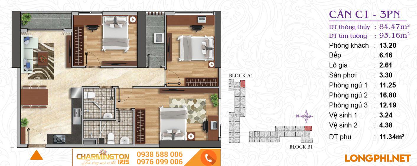 Căn hộ 3 phòng ngủ C1 dự án Charmington Iris Q4.