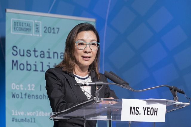 Thu, 10/12/2017 - 14:41 - October 12, 2017 - WASHINGTON, DC. World Bank / IMF 2017 Annual Meetings. Sustainable Mobility. Watch Event.  Kristalina Georgieva, CEO, World Bank; Michelle Yeoh, UN Ambassador And Actress; Jean Todt, President,  Fédération Internationale De L'automobile; Raj Rao, Ceo, Ford Smart Mobility LLC; Sahar Nasr, Minister Of Investment And International Cooperation, Egypt; MODERATOR: Helene Speight, Ambassador, Prince's Trust. Photo:  World Bank / Simone D. McCourtie   Photo ID: 101217-SustainableMobility-0062f