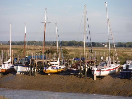 Boats on Oare Creek at low tide