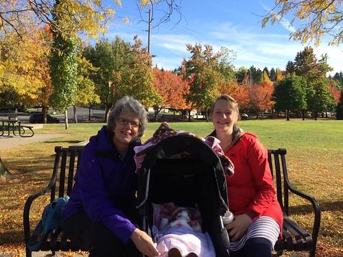 Carol with baby Marika and Hannah