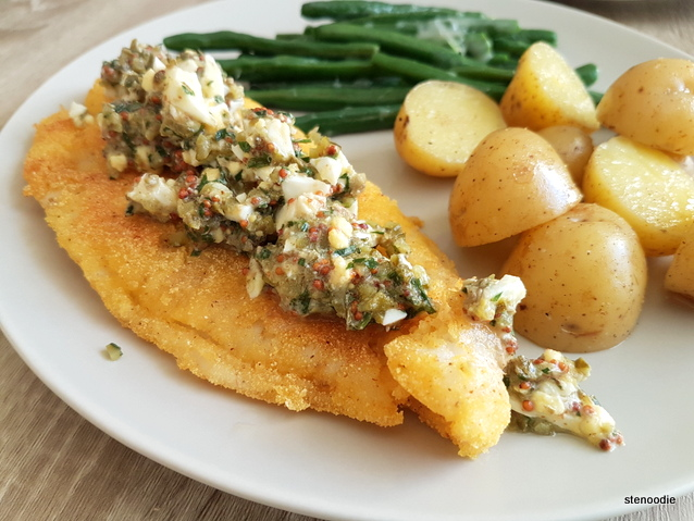 Crispy Fish & Sauce Gribiche with Parmesan Green Beans and Baby Potatoes